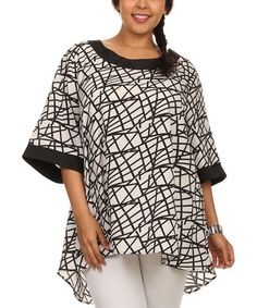 Black & White Abstract Button-Back Tunic - Plus #zulily #zulilyfinds