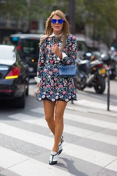 Anna Dello Russo in Saint Laurent and Valentino shoes