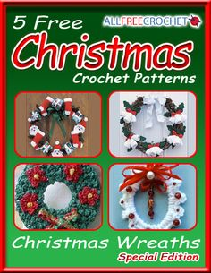 5 Free Christmas Crochet Patterns: Crochet Christmas Wreaths eBook - Receive five amazing crochet Christmas wreath patterns in this eBook. You can use them to hang on a door or you can make them into ornaments for your tree. Make one for yourself or give one as a gift, have fun this holiday.