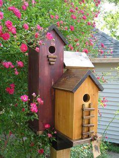 LG 3 Nest Folk ART Primitive Antique RED Harvest Gold Olive Green Wood Birdhouse