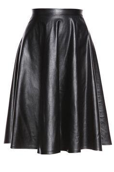 Black Leather Mini Length Skirt