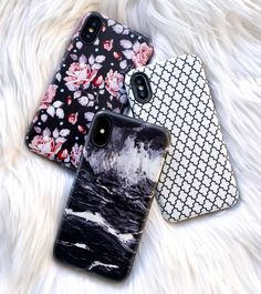 Black, White & some rose ⚪️ Blush Rose, Marrakesh & Black Marble case for iPhone X, iPhone 8 Plus / 7 Plus & iPhone 8 / 7 from Elemental Cases
