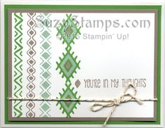 Stampin' Up! Cards - 2015-06 Class - Bohemian Borders and A Dozen Thoughts stamp sets