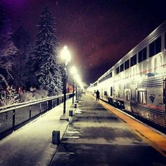 Amtrak Empire Builder, stopped at #Whitefish, #Montana. Image by…