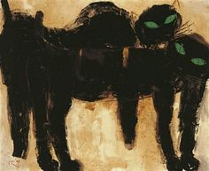 "Popo Iskandar    ""Two Black Cats with Green Eyes"""