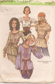 Great 1970s Boho Peasant Blouse Vintage Sewing Pattern. $5.00, via Etsy.