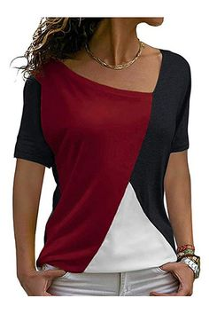 Amazing offer on Sarin Mathews Womens Shirts Casual Tee Shirts Short Sleeve Patchwork Color Block Loose Fits Tunic Tops Blouses online - Pptoplike Buy T Shirts Online, Tops Online, Casual Tops For Women, Schneider, Plus Size Tops, Casual Shirts, Tee Shirts, Tunic Tops, T Shirts For Women