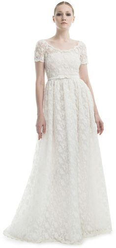 Ivory Short Sleeve Embroidered Gown