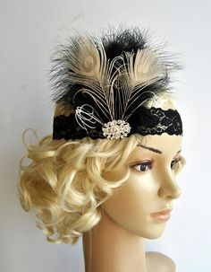 Flapper Lace Rhinestone Feather Headband, The Great Gatsby Headband, Lace flapper costume, black, silver 1920s Headpiece, Gatsby Headband, Rhinestone Headband, Gatsby Costume, Flapper Costume, Stretchy Headbands, Floral Headbands, 1920s Hair Accessories, Flapper Style