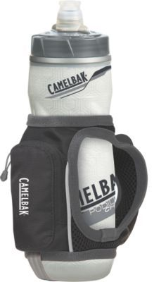 The Camelbak Quick Grip is what I use for my long runs or when it's hot outside. It's light, fits tightly against your hand, keeps the water cold. The bottle has a on/off valve and requires you to squeeze it inorder to get the water.