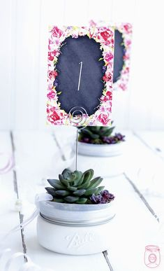 Mason Jar Table Number Markers