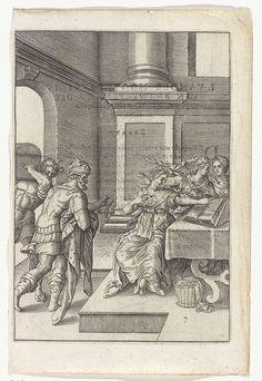 Johannes Wierix   Minachting van de juwelen, Johannes Wierix, Anonymous, 1614 - 1616   Drie vrouwen zitten rond een tafel, één van hen bladert door een boek. Twee mannen komen het vertrek binnen, één van hen draagt een kist op zijn schouder. De ander heeft een ketting en een mantel in de handen.