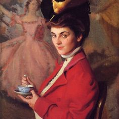 "Oh, I love this lady. The arched brows, the direct gaze, the artful mole/freckle on her cheek, even that bright red jacket and rather alarming stuffed bird on her hat make her clearly a modern woman of the new 20th century, and a sharp contrast to the dancer in pale pink in the painting behind her. ""Cherry"" by William MacGregor Paxton, 1906, private collection. #portrait #williammacgregorpaxton #1906 #redjacket #ladyinred #americanart #americanartist #fashionhistory #statementhat #arthistory…"