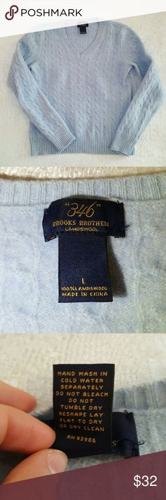 Brooks Brothers lambswool sweater Labeled a large but fits like a small.  See measurements: 16 inches underarm to underarm  20 inches shoulder to hem  22 inches sleeve Brooks Brothers Sweaters V-Necks