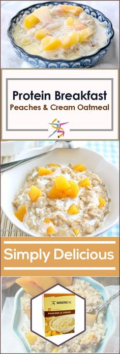 BariatricPal Hot Protein Breakfast - Peaches and Cream OatmealIt's quick cooking and the perfect on-the-go high-protein bariatric breakfast. Make it with water or milk on the stove or in the microwave, and have it on its own or with fruit or nuts.Highlights15 grams protein100 calories10% of DV for iron and calciumLow fat, low carbSugar freeSuitable for Mushies and Pureed Foods, Solid Foods, Weight Loss, and Maintenance dietsSuitable for gastric band, gastric bypass, and g