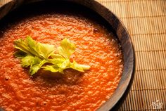 """PaleoLeap.com: Tomato Soup - Some tomato sauce is so good that you almost want to eat it straight from the jar, and when you make that tomato sauce into a soup, this is the soup you get. It's a study in the power of fresh, wholesome ingredients. ~ I don't eat soup out of a can (especially tomato), I'd like to try this.  Although, I will skip step Prep 5: """"Stir in coconut milk. Then blend until smooth."""" -- I want my soup milk free and with all the veggie bits!"""