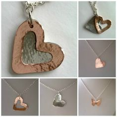 Some pieces from the workshop this week. Copper Heart pendant, Double Heart pendant (copper and aluminium), and a butterfly pendant made in copper. All with a hammered finish.