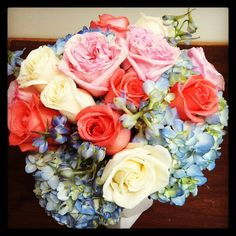 Bride's bouquet - pink garden roses, coral roses, white roses, blue delphinium and blue hydrangeas. | Flickr - Photo Sharing!