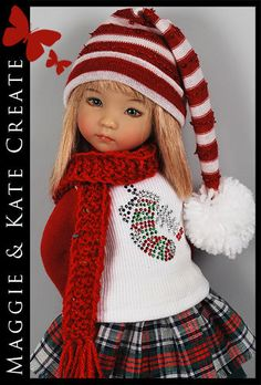"""*** CHRISTMAS *** Outfit for Little Darlings Effner 13"""" by Maggie & Kate Create"""