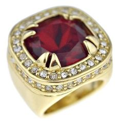 Red Ruby Synthetic Stone Ring Chunky Bling Hip Hop Iced-Out Gold Tone Mens SZ