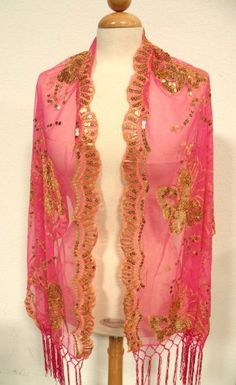 Pink Italy Fashion Butterfly Scarf Shawl w/ All Hand Made Embroidery Beautiful Pink/Gold Butterfly & Sequined Throughout . Gorgeous Design ,Elegant Fashion Butterfly All Seasons Scarf ,Soft Touch w/Convenient Size at 24 x 62 +7x2 For All Year Round. 100% Satisfaction Guaranteed ! by Eastern Cloud. $19.95. Pink Italy Fashion Butterfly Scarf Shawl w/ All Hand Made Embroidery Beautiful Pink/Gold Butterfly & Sequined Throughout . Gorgeous Design ,Elegan...