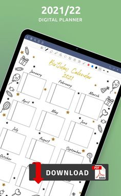 Organize everything easily with Birthday Month Calendar template. If you need more templates to improve your efficiency and master your time, browse the collection of templates that offers a great variety of designs. You can download one or several copies, add it to your personal planner, your binder or digital planner. #birthday #calendar #design #template #perpetual