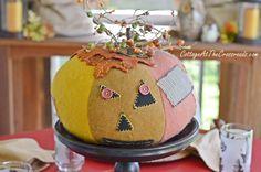 vintage patchwork pumpkin | Cottage at the Crossroads