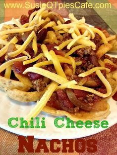 SusieQTpies Cafe: {Easy Super Bowl Recipes} Chili Cheese Nachos - perfect recipe to make with your leftover chili or even make the chili just for this recipe. Everyone loves it and it is EASY!