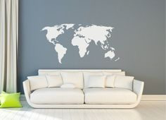 World Map Wall Sticker Design  Wall Travel Decor  by FixateDesigns