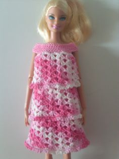 Crochet for Barbie (the belly button body type): 3 Tier Slip On Dress