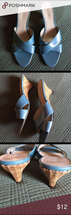 Blue Straw Wedge sandals Size 10 M Nine West Shoes Sandals