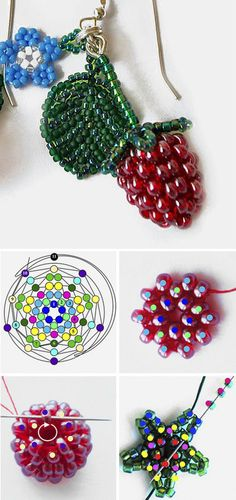 Bead weaving Raspberries tutorial and pattern