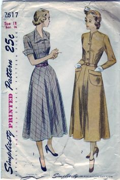 FREE SHIPPING Vintage 1948 Simplicity 2617 Sewing Pattern Misses' One-Piece Dress Size 18 Bust 36