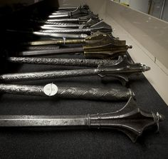 Maces in Storage at the Royal Armouries.