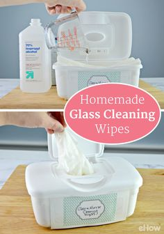 Making your own homemade glass and mirror cleaning wipes is easy to do with just two ingredients, some towelettes, and a recycled baby wipes container. These wipes make glass and mirror cleaning a snap. http://www.ehow.com/how_12343786_homemade-glass-mirror-cleaning-wipes.html?utm_source=pinterest.com&utm_medium=referral&utm_content=freestyle&utm_campaign=fanpage