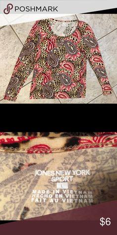 Jones New York Tan, brown, burgundy, & purple top Jones New York top. 96% cotton  4% Elastane Machine wash cold Tumble dry low Jones New York Tops