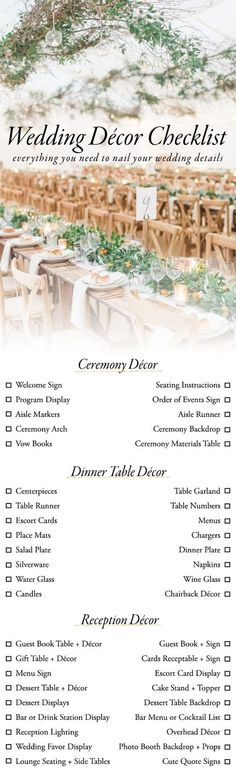 Wedding Checklist Wedding Decor Checklist - Designing your wedding can be a little overwhelming, but our wedding décor checklist is here to help! Here's everything you need to nail the details. Before Wedding, Wedding Tips, Wedding Details, Wedding Venues, Wedding Quotes, Wedding Binder, Budget Wedding, Wedding Blog, Wedding To Do List