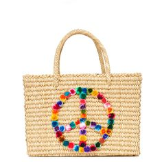 Nannacay Peace Tote (830 BRL) ❤ liked on Polyvore featuring bags, handbags, tote bags, multi, white purse, white tote bag, woven straw handbags, colorful tote bags and straw purse