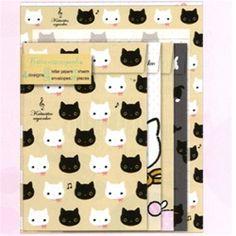 San-X Kutusita Nyanko Quad Letter Set: White Kitty Friend Beige