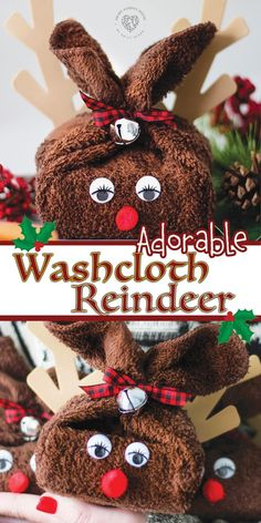Adorable Washcloth Reindeer Craft The holidays are here and this Christmas you have to make one of these adorable washcloth reindeer. They make the perfect gift for your kids, family, and friends. They can also be used for adorable bathroom d Christmas Crafts For Kids To Make, Handmade Christmas Gifts, Homemade Christmas, Simple Christmas, Kids Christmas, Holiday Crafts, Kids Crafts, Christmas Tables, Nordic Christmas