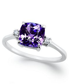 14k White Gold Ring, Tanzanite (1-5/8 ct. t.w.) and Diamond Accent Cushion Ring -