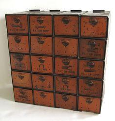 Desktop storage with a vintage / industrial look.