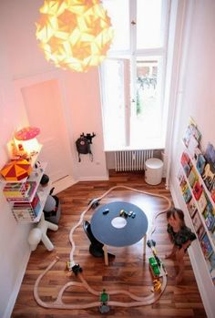 This is a fantastic playroom design for small room optimization