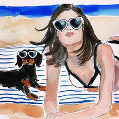 Explore amazing art and photography and share your own visual inspiration! Dapple Dachshund, Dachshund Art, Daschund, Beach Illustration, Couple Illustration, Surf, Art Themes, Beach Art, Illustrations Posters