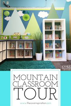 This mountain themed classroom is such an inspiration for creating a calm learning environment. My students are surrounded by the colors of nature, and the feeling is so fresh and bright. Perfect classroom setup for self-directed learning, flexible seatin