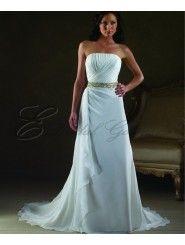 Chiffon A-line Strapless Wedding Dress