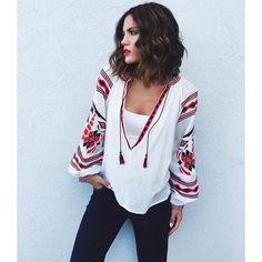 Mary Sinatsaki Bsb fashion Scotch And Soda, Bell Sleeve Top, Blouse, How To Wear, Outfits, Clothes, Beauty, Greek, Tops