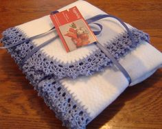 crochet edgings for baby blankets   Items similar to Crocheted Lace Edging Baby Fleece Blanket on Etsy