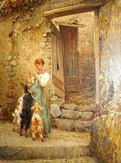 """""""Countrywoman and little goats"""" by Vincenzo Caprile (Naples 1856-1936) - Naples, Castel Nuovo Museum"""