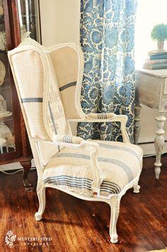 upholstered chair using old grain sacks